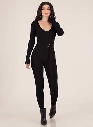 Heroine Belted Rib Knit Jumpsuit