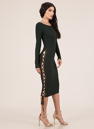 Stay By My Side Ribbed Lace-Up Dress