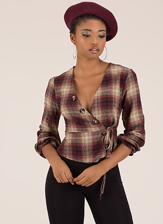 Always In Style Wrapped Plaid Top