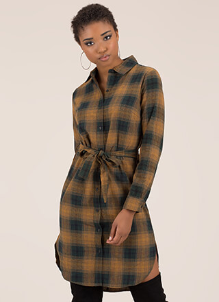 Perfect Plaid Tied Button-Up Shirt Dress