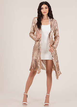Flapper Movement Fringed Sequined Duster