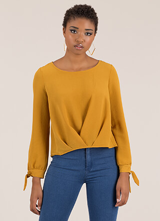Pleats And Valleys Tie-Sleeve Blouse