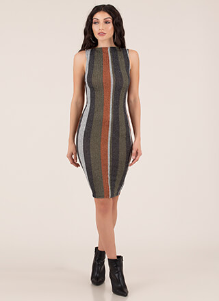 New Line Striped Rib Knit Midi Dress