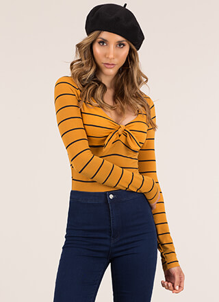 Knot That Serious Tie-Front Striped Top
