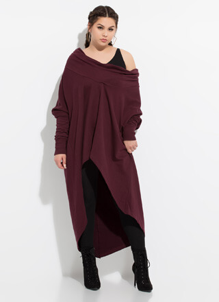Holy Cowl High-Low Sweater Dress