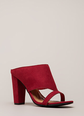 Cut You Off Faux Suede Mule Heels
