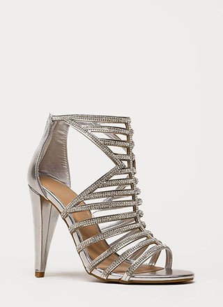 Smashing Metallic Caged Rhinestone Heels