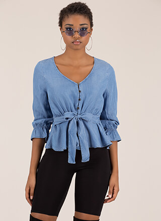 Chic In Chambray Tied Peplum Top