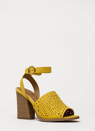 Walk In The Park Chunky Peep-Toe Heels
