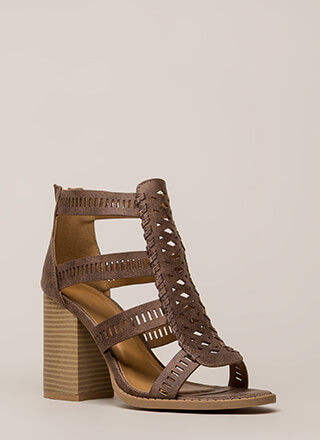 Cut Your Wins Caged Chunky Heels