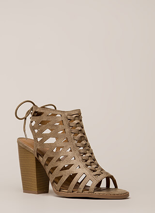 Go On Chunky Caged Lace-Back Heels