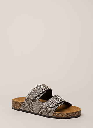 Snake Things Up Buckled Slide Sandals
