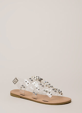 Winning Edge Studded Clear Strap Sandals