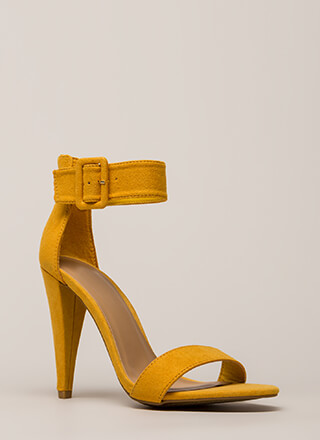 Smashing Time Strappy Faux Suede Heels