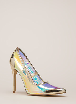 Clear Agenda Pointy Iridescent Pumps