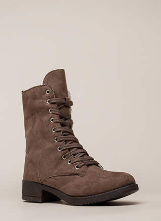Silver Lining Faux Suede Combat Boots
