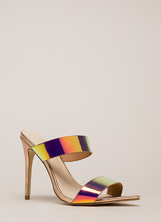Outshine Strappy Holographic Mule Heels