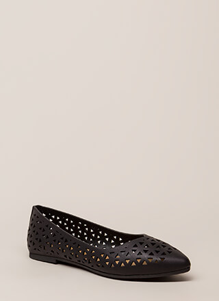 Love Triangle Latticed Cut-Out Flats