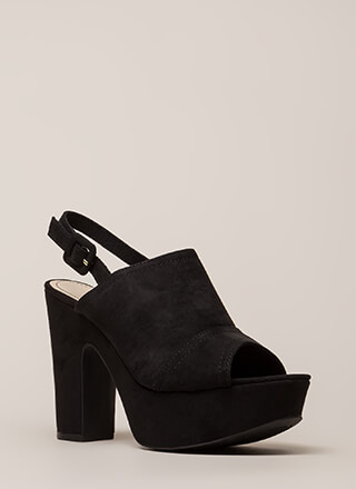 Hit My Groove Chunky Peep-Toe Platforms
