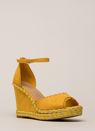Roped In Peep-Toe Platform Wedges