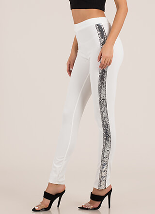 Bright Side Sequined Tuxedo Stripe Pants