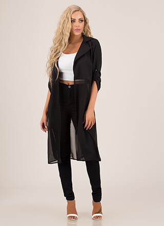 Sheer Stylishness Trench Coat Duster