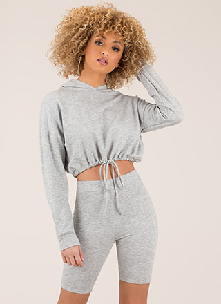 Cute And Carefree Hoodie And Shorts Set