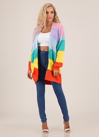 Color Wheel Longline Knit Cardigan