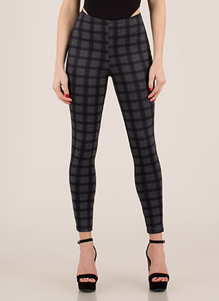 Grid Vibes Only Plaid Skinny Pants