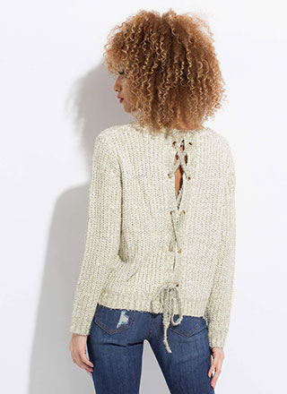 My Turn Fuzzy Lace-Back Sweater