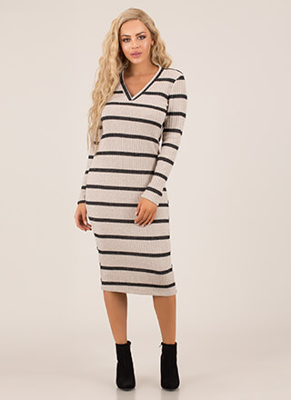 Simply Striped Fuzzy Knit Midi Dress