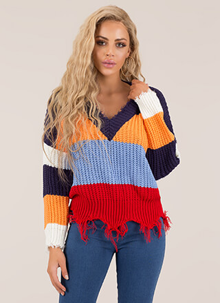 First String Fringed Colorblock Sweater