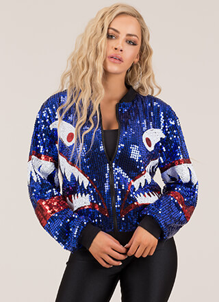 Create A Monster Sequined Bomber Jacket