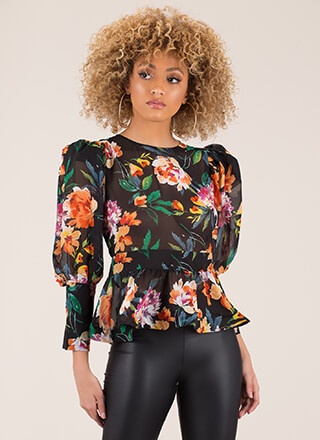 In Bloom Puffy Sleeve Floral Blouse
