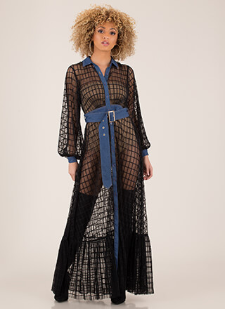 Denim Touch Belted Netted Mesh Maxi