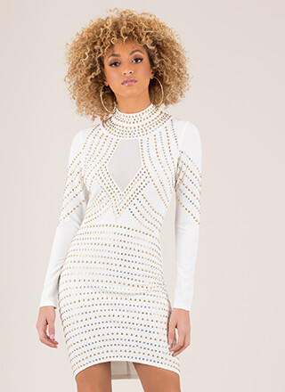 Star Studded Mesh Inset Midi Dress