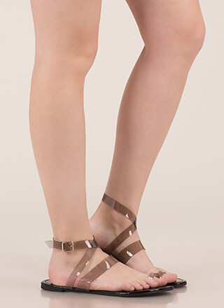 Clear It Up Strappy Faux Patent Sandals