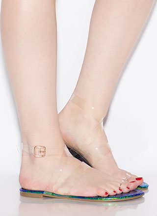Clear It Up Strappy Iridescent Sandals