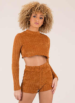 Knitty Bitty Ribbed Top And Shorts Set