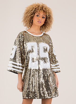 Football Friday Sequined Jersey Dress