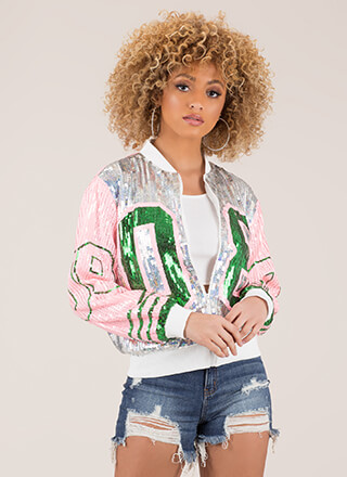 Crazy Eights Sequined Jersey Jacket