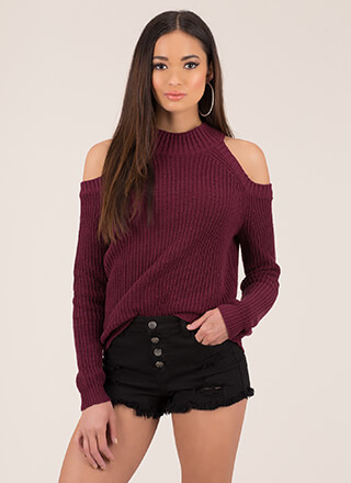 In From The Cold-Shoulder Knit Sweater