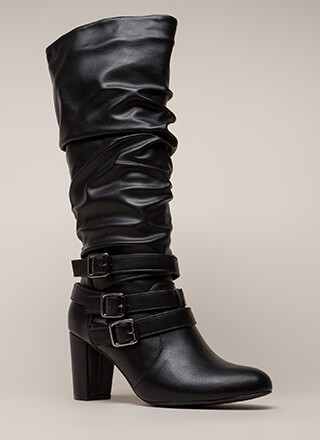 Strappy And Slouchy Knee-High Boots