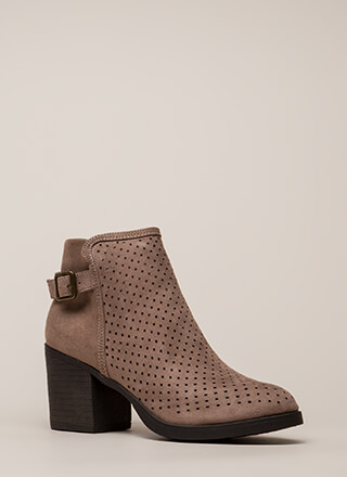 A Hole Lot Perforated Block Heel Booties