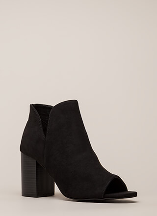 Good Taste Faux Suede Peep-Toe Booties