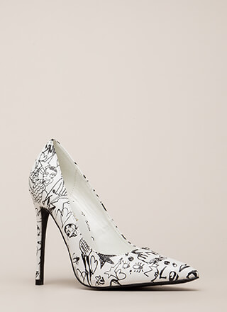 Draw Interest Pointy Doodle Print Pumps