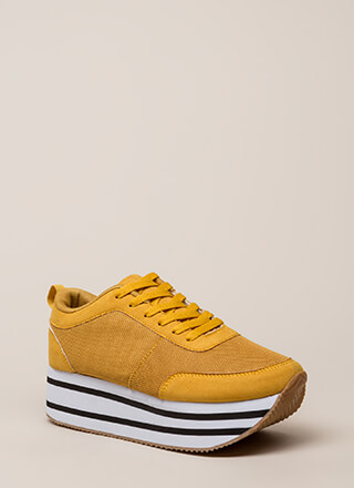 Mad Ups Sporty Striped Platform Sneakers