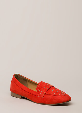 Fashion Capital Studded Smoking Flats