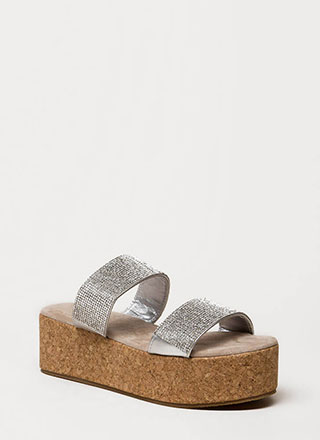 Elevate Jeweled Platform Slide Sandals