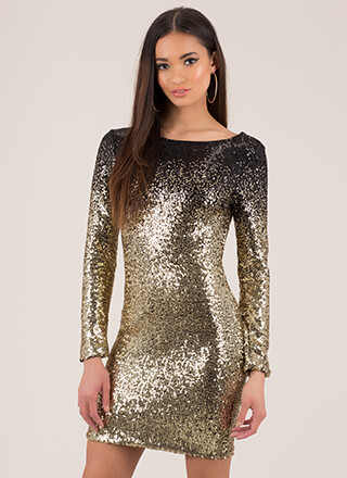 Sparkle Party Sequined Ombre Minidress